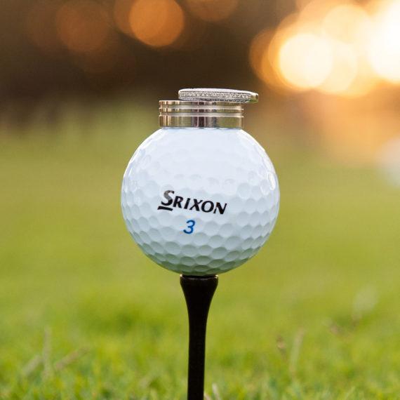Wedding rings on Golf Ball